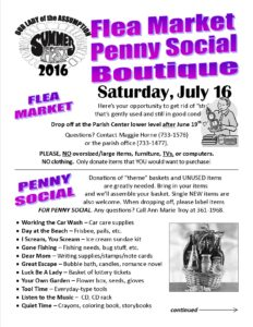 Flea Market and Penny Social Flyer